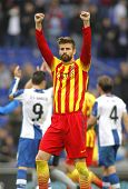 BARCELONA - MARCH, 29: Gerard Pique of FC Barcelona celebrates a goal during a Spanish League match
