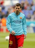 BARCELONA - MARCH, 29: Leo Messi of FC Barcelona before a Spanish League match against RCD Espanyol