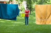 Drying Laundry In A Garden