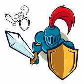 foto of paladin  - Vector illustration of a knight holding sword and shield - JPG