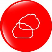 Cloud Icon Button, Web Button Isolated On White