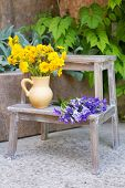 Garden decoration with wildflowers, outdoors
