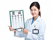Oculist point to eye chart