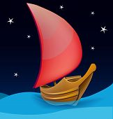 Romantic boat with red sail on a night background