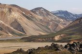 Iceland. South Area. Fjallabak. Volcanic Landscape With Rhyolite Formations poster
