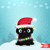 Merry Christmas greeting card with a black cat.