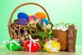 Basket, eggs, an Easter cake, rabbit, alstromeria