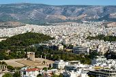 stock photo of olympian  - View of Athens and the Temple of Olympian Zeus - JPG