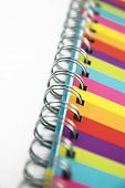 Colorful notebook close up