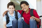 image of pre-teen boy  - Pre teen boys at school - JPG