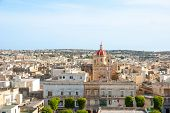 picture of gozo  - View over Victoria Rabat biggest city of Gozo island Malta - JPG