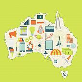Map Of Australia With Technology Icons