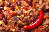 Mexican Food Chili Con Carne Macro. Horizontal