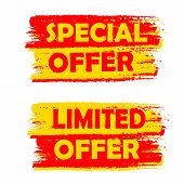 Special And Limited Offer, Yellow And Red Drawn Labels