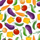 Seamless background pattern of fresh vegetables