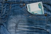 One Thousand Ruble Note in the pocket of jeans