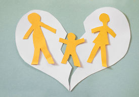 image of divorce-papers  - Paper cutout family split apart on a paper heart - divorce concept ** Note: Shallow depth of field - JPG