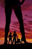 Silhouette Woman In Bikini Heels Legs One Turned To Side Western Couple