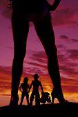 Silhouette Woman In Bikini Heels Legs One Turned To Side Western Couple
