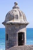 pic of san juan puerto rico  - Medievel stone bartizan or garita on corner of Castillo de San Cristobal overlooking the Atlantic Ocean in Old San Juan Puerto Rico