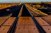 Vanishing Point.  Train Tracks in the Desert.