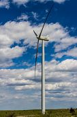 Huge High Tech Industrial Wind Turbine Generating Environmentally Sustainable Clean Electricity