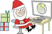 Santa at computer cartoon