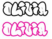 the name Olivia in graffiti style funny bubble fonts
