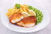 chicken, french fries and pea