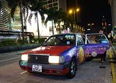 Customer Alight From Hong Kong Taxi.