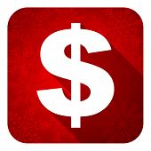 dollar flat icon, christmas button, us dollar sign