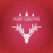 Merry Christmas Reindeer Horn And Stripes Illustration