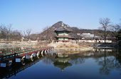 stock photo of winter palace  - Hyangwonjeong pavilion at Gyeongbokgung palace in winter - JPG