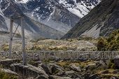 picture of hooker  - Bridge over Hooker River in Aoraki national park New Zealand - JPG