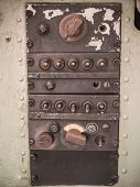 stock photo of yoke  - Image of Old panel on military aircraft - JPG