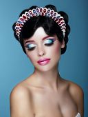 Luxurious Dreamy Female With Bright Makeup And Art Diadem