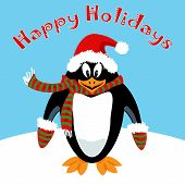 Cartoon Penguin Holiday Card