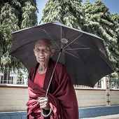 BYLAKUPPE, INDIA - FEB 10, 2013 : Buddhist monk in the Namdroling Monastery in Bylakuppe, Karnataka, India on February 10, 2013. Bylakuppe is one of the biggest Tibetan refugee settlements in India.