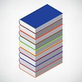 tower of book on white with empty cover