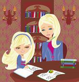 Mom Helping Her Daughter With Homework Or Schoolwork At Home.
