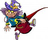 Cartoon Fairy Old Enchantress With Umbrella Walks.eps