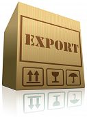 export package vector icon exporting cargo for global and international trade worldwide business cardboard box logistics