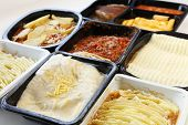 picture of frozen tv dinner  - A selection of frozen ready meals available from UK supermarkets