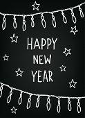 Hand drawn New Year sketch, blackboard
