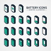 Battery web icons, symbol, sign and design elements in isometric style. Charge level indicators. Vec