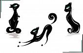 smiling black cat with a long tail, vector illustration