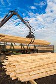 stock photo of logging truck  - Tree log hydraulic manipulator  - JPG