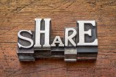 share word in mixed vintage metal type printing blocks over grunge wood