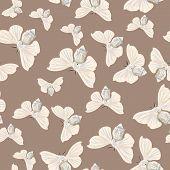 Silk moth almond seamless vector pattern