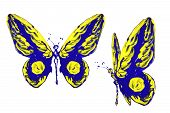 Blue Yellow Paint Made Butterfly Set